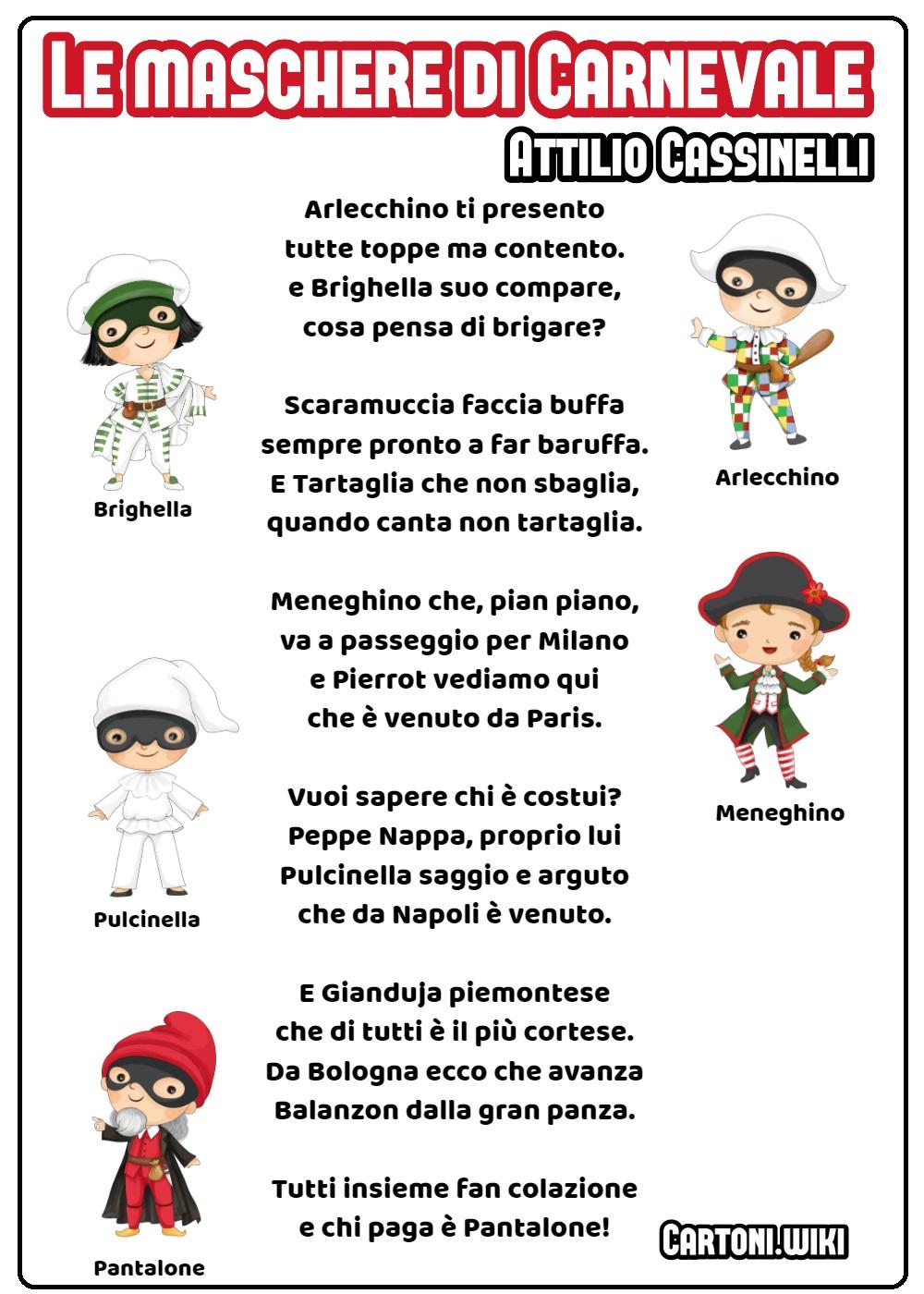 Maschere di Carnevale poesia di Attilio Cassinelli - Cartoni animati