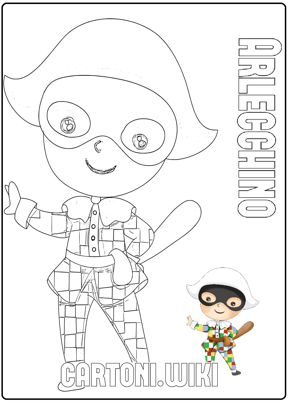 Maschere Arlecchino da colorare - Cartoni animati