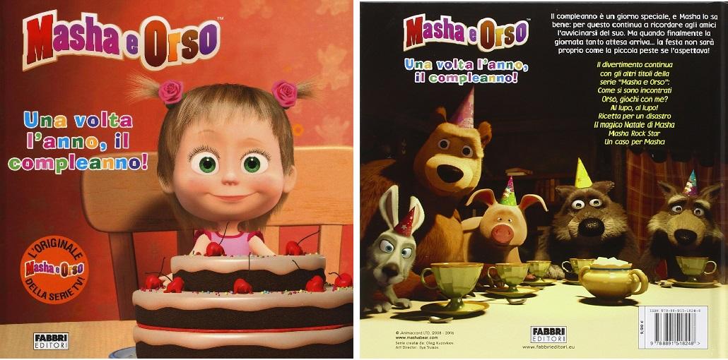 Masha e Orso libro una volta l'anno il compleanno per bambini in età scolare e prescolare