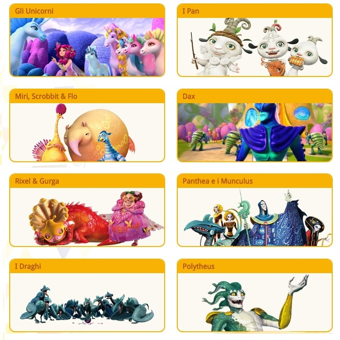 Mia and Me cartoni animati personaggi unicorni Gargona Politheus draghi creature Munculus gargona Phantea
