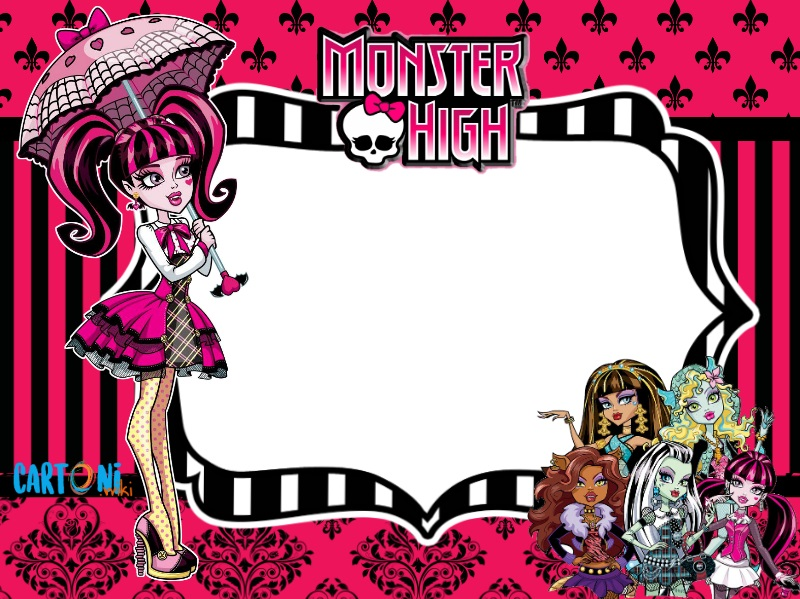 Monster high invito festa di compleanno Draculaura