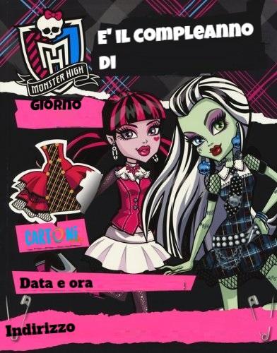 Monster High invito compleanno da stampare - Inviti compleanno bambini