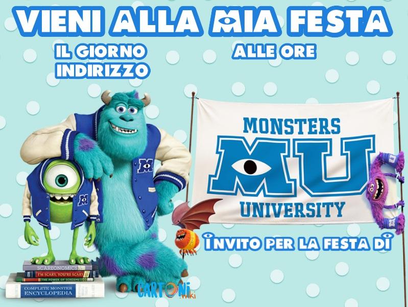 Invito compleanno Monsters University - Inviti feste compleanno