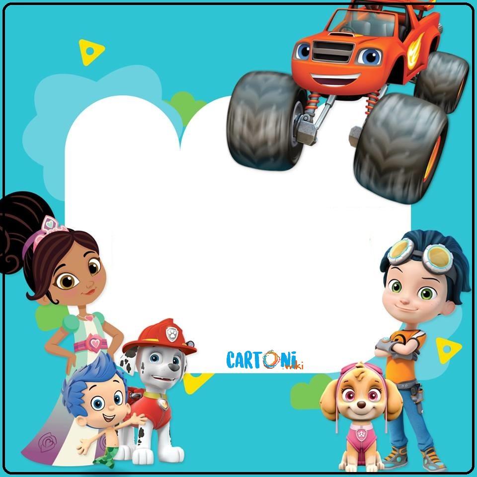 Inviti con i personaggi dei cartoni animati di Nick Jr. - Inviti feste compleanno