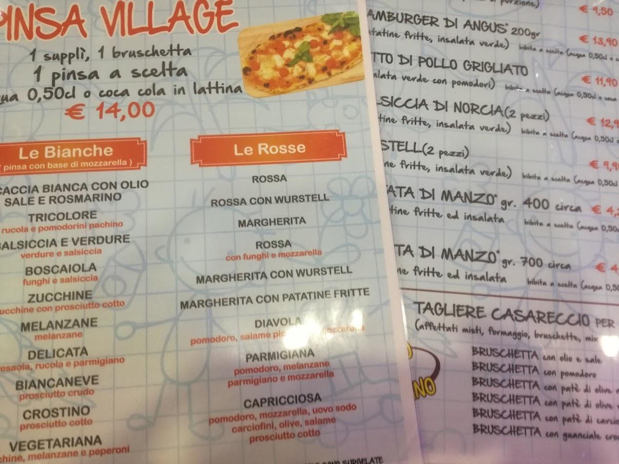 Ristorante bambini Roma Junior Village menu - parco giochi coperto - gonfiabili - ristorante bambini roma - pinseria Roma - schiuma party