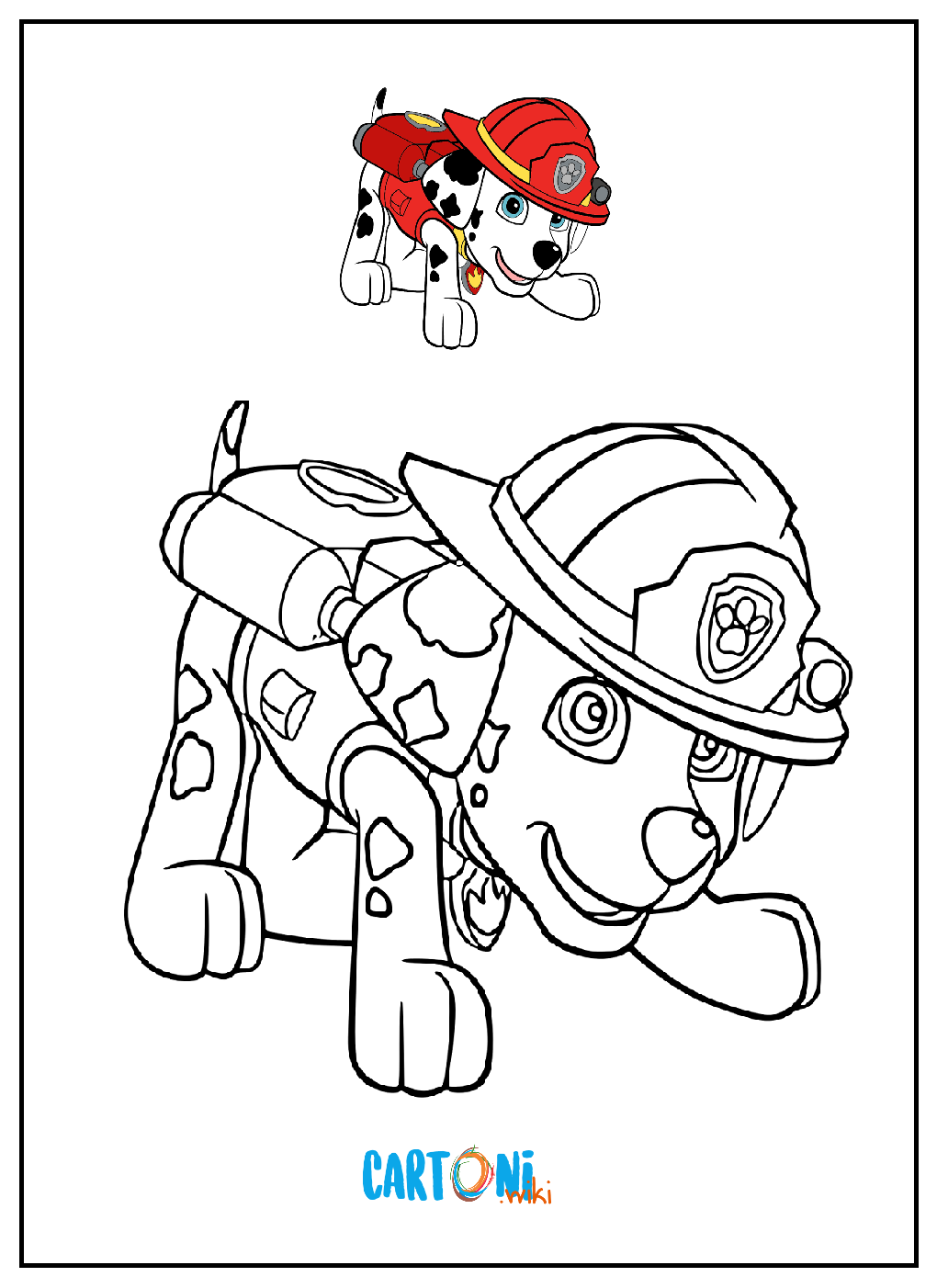 Marshall paw patrol da colorare cartoni animati for Disegni miraculous da colorare