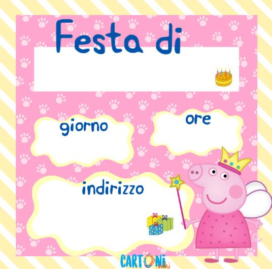 Peppa Pig inviti feste compleanno   Cartoni animati