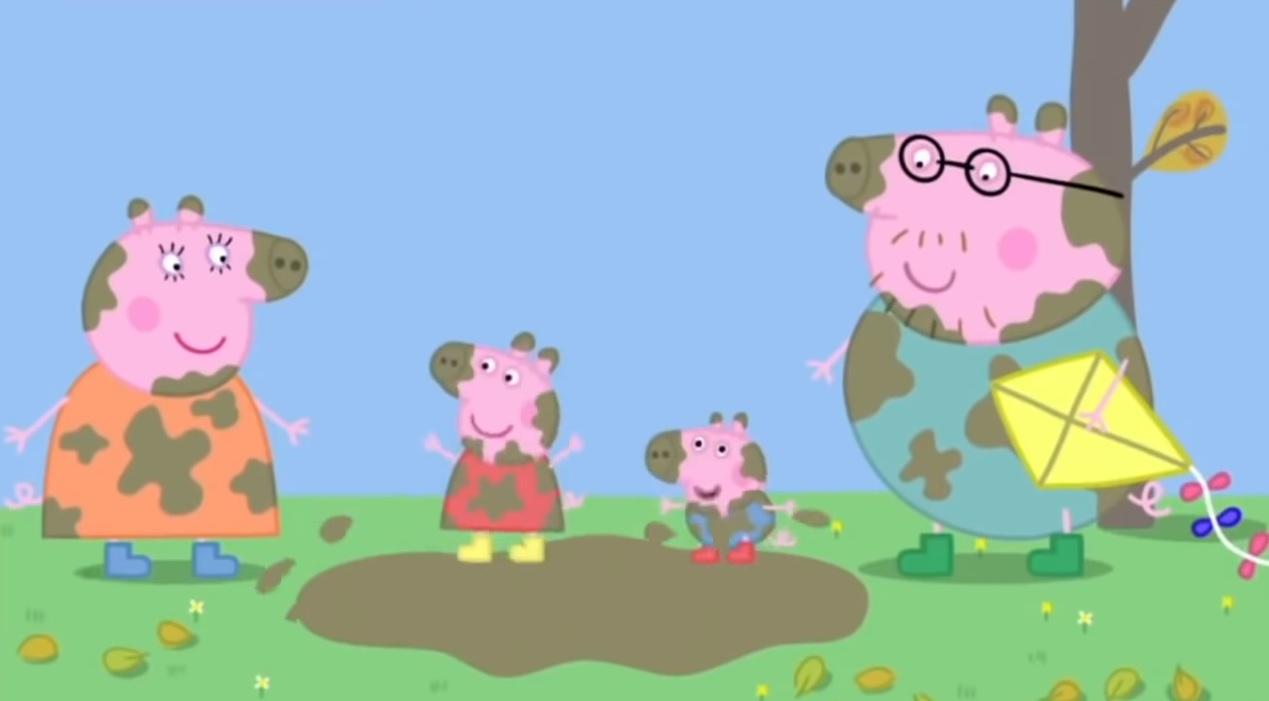 Peppa Pig casa gialla in cima alla collina cartoni animati bambini età prescolare maialina