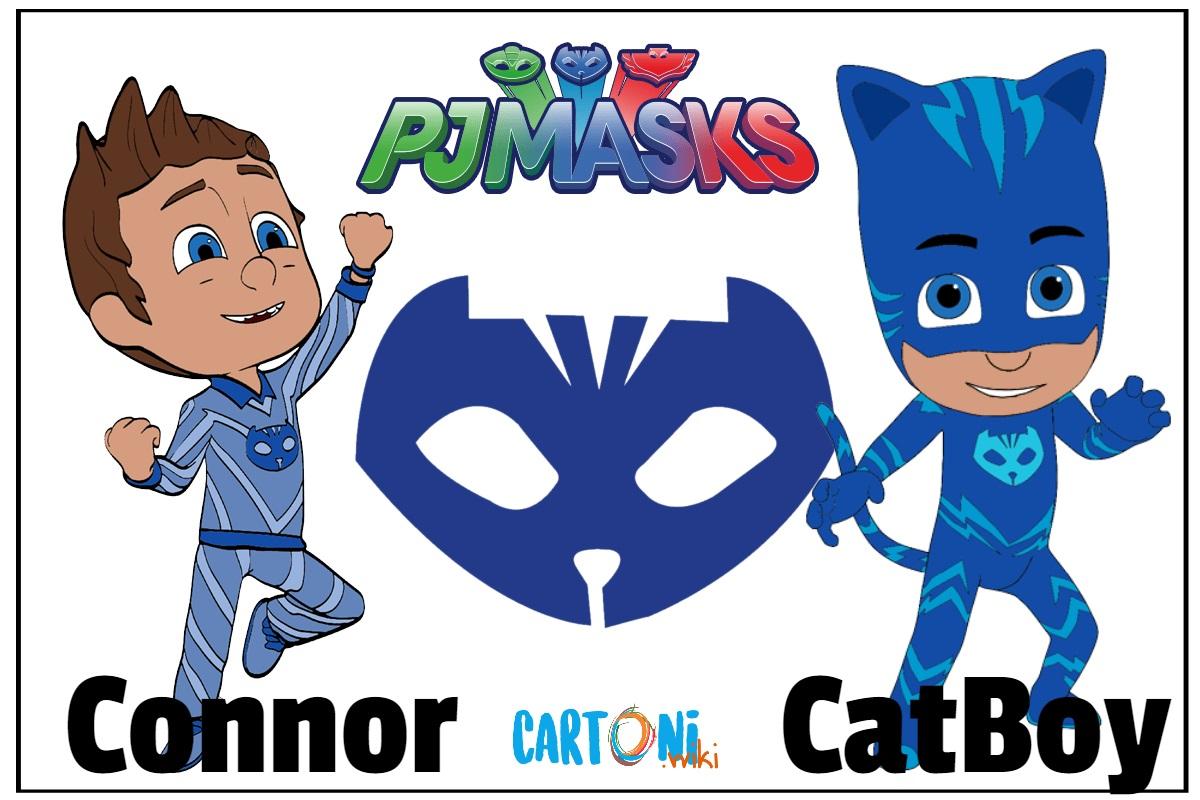 Superpigiamini Pj Masks personaggi Connor è CatBoy cartoni animati disney junior blu blue