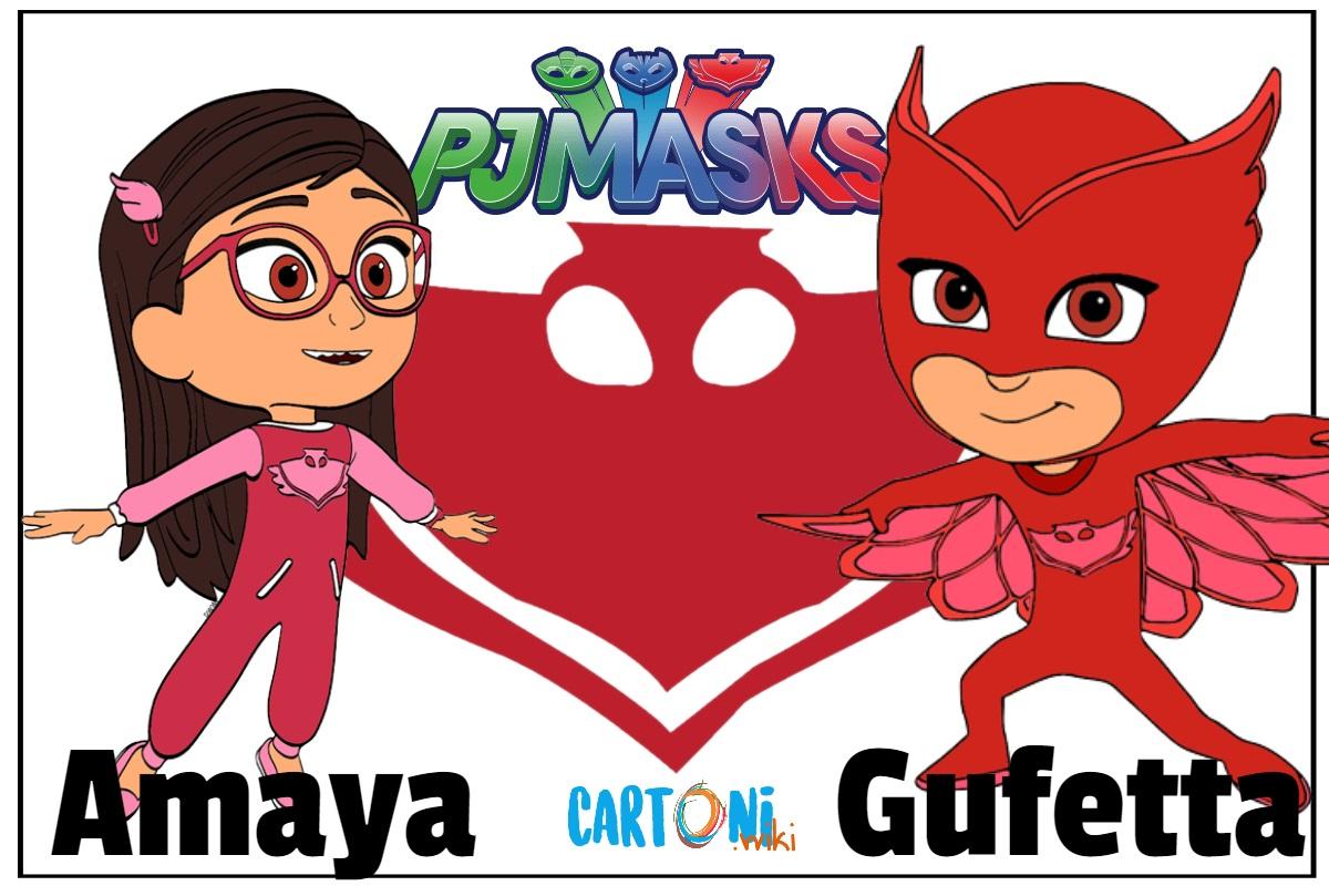 Superpigiamini Pj Masks personaggi Amaya è Gufetta cartoni animati disney junior Owlette red rossa