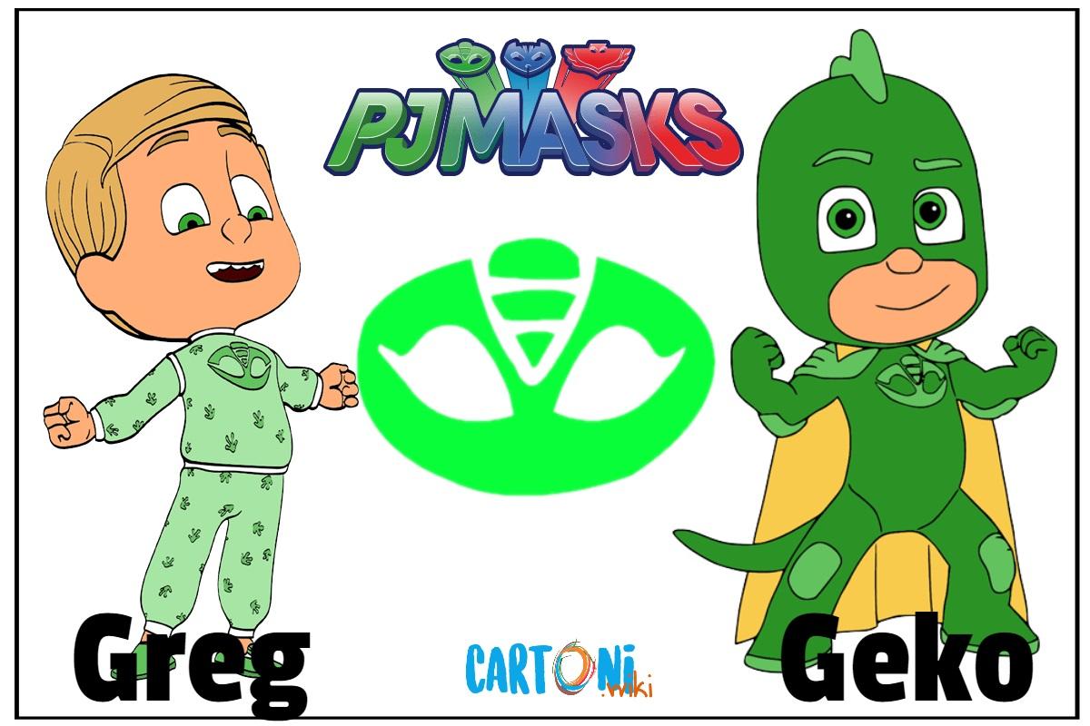 Superpigiamini Pj Masks personaggi Greg è Geko cartoni animati disney junior Gekko verde green