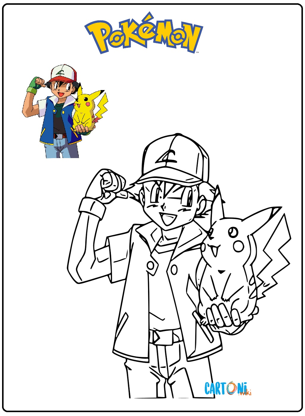 Pokemon disegno da colorare con Pikachu - Disegni da colorare