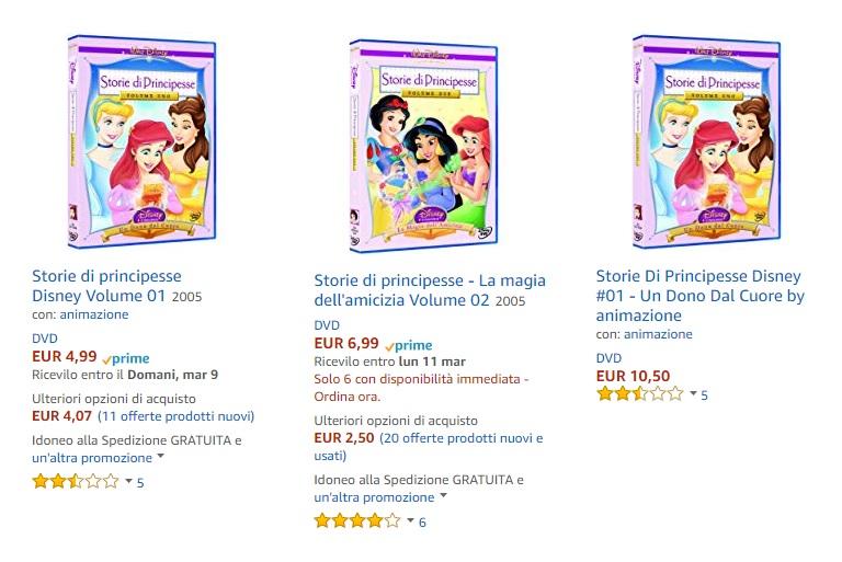 Principesse Disney film cartoni animati Storie di Principesse vol.1 cover dvd film di animazione Disney Home Video prezzi offerte amazon