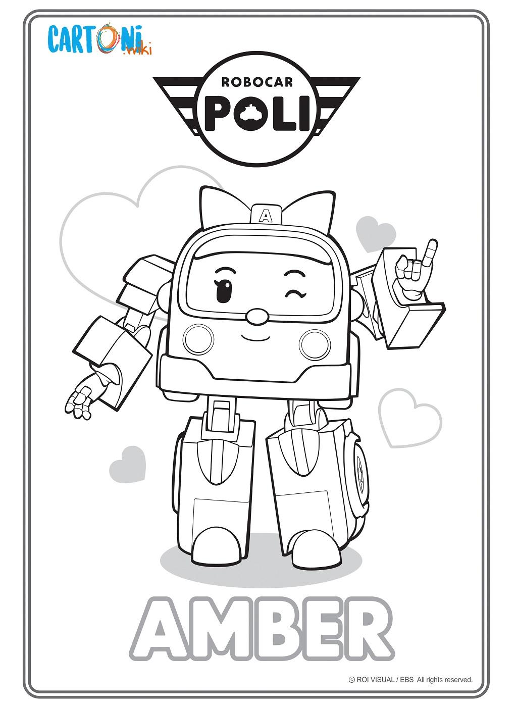 Colora Amber di Robocar Poli - Cartoni animati