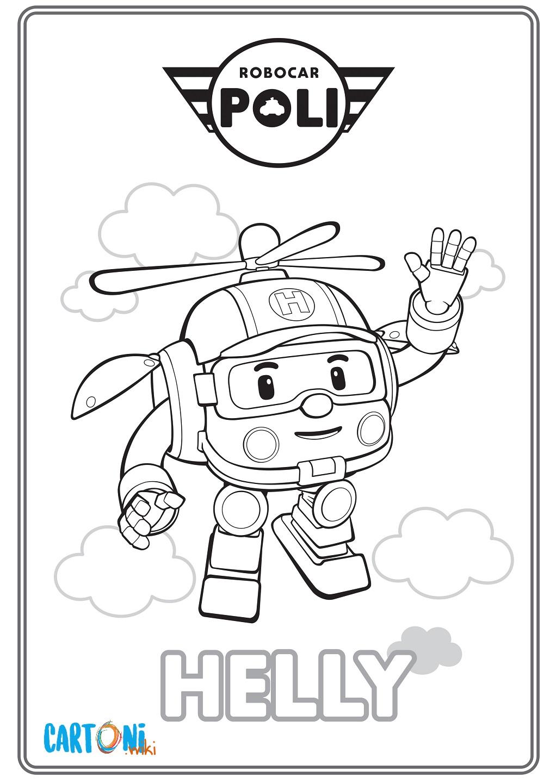 Colora Helly di Robocar Poli - Cartoni animati