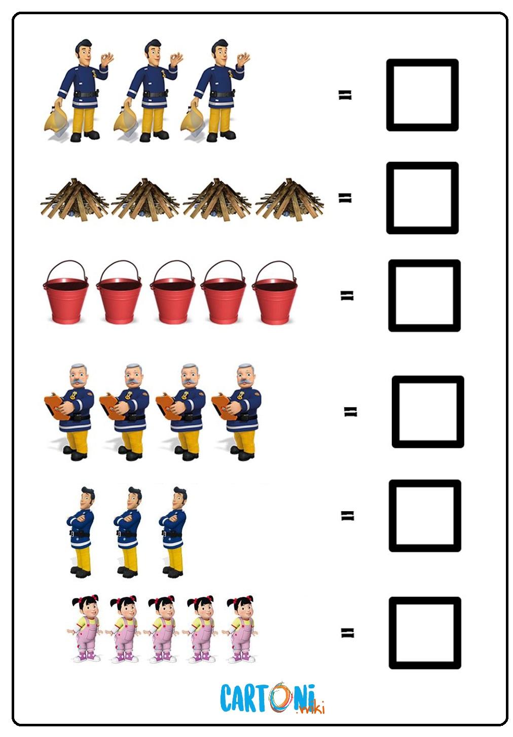 Esercizio matematica con Sam il pompiere - Esercizi prescolari