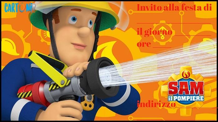 Inviti festa di compleanno Sam il pompiere - Inviti compleanno bambini