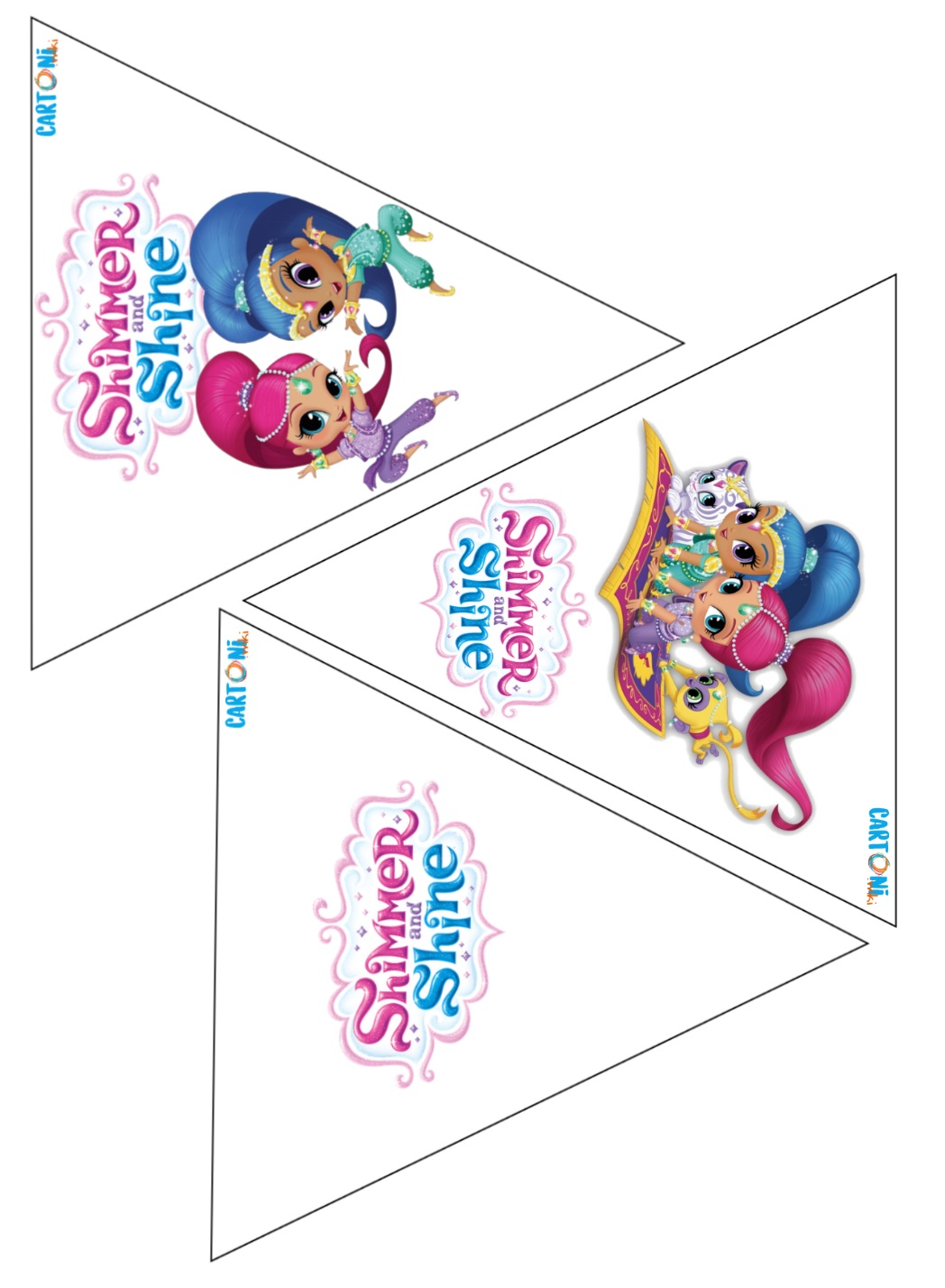 Bandierine festa Shimmer and Shine - Cartoni animati