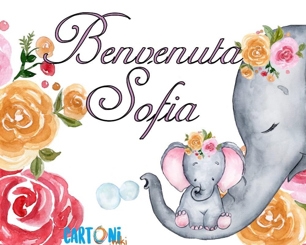 Benvenuta Sofia Annuncio nascita bambina - Cartoni animati