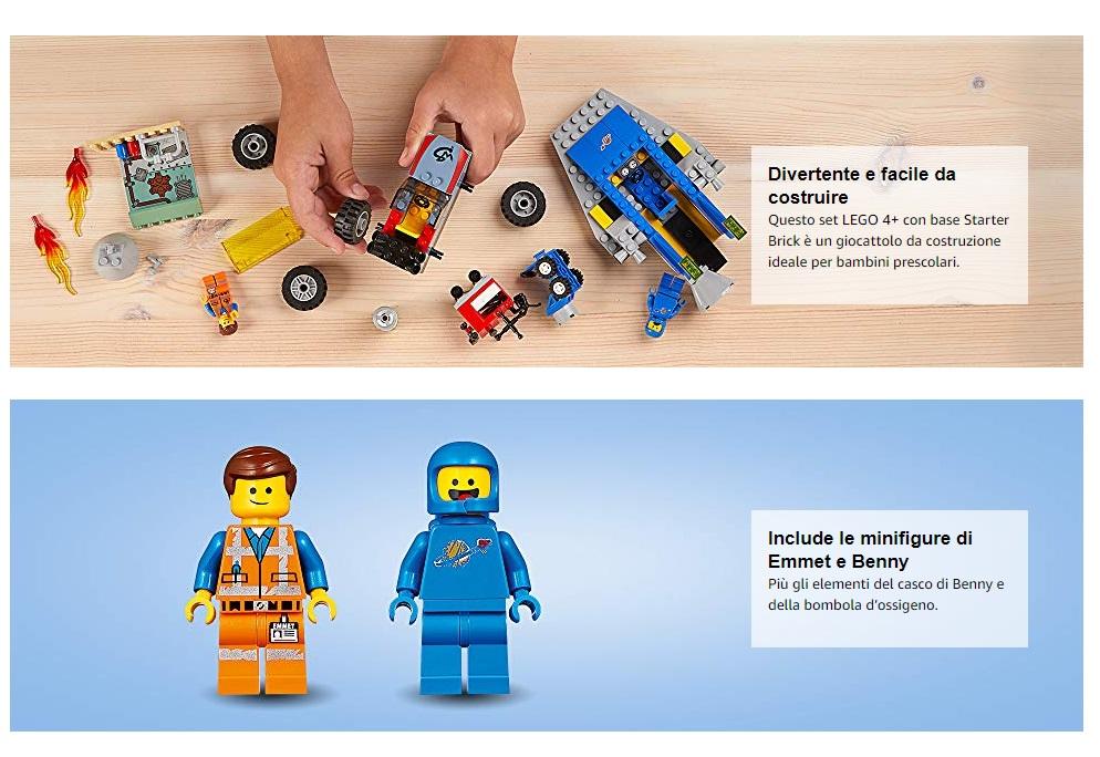 The lego movie 2 costruzioni officina di Emmet istruzioni montaggio pdf offerte e promozioni giochi bambini mattoncini