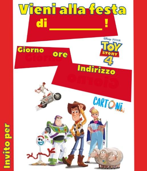 Invito compleanno da stampare con Toy Story 4 - Inviti compleanno bambini