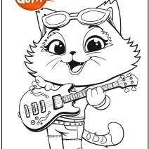 44 gatti Disegno Milady con la chitarra da colorare - Stampa e colora