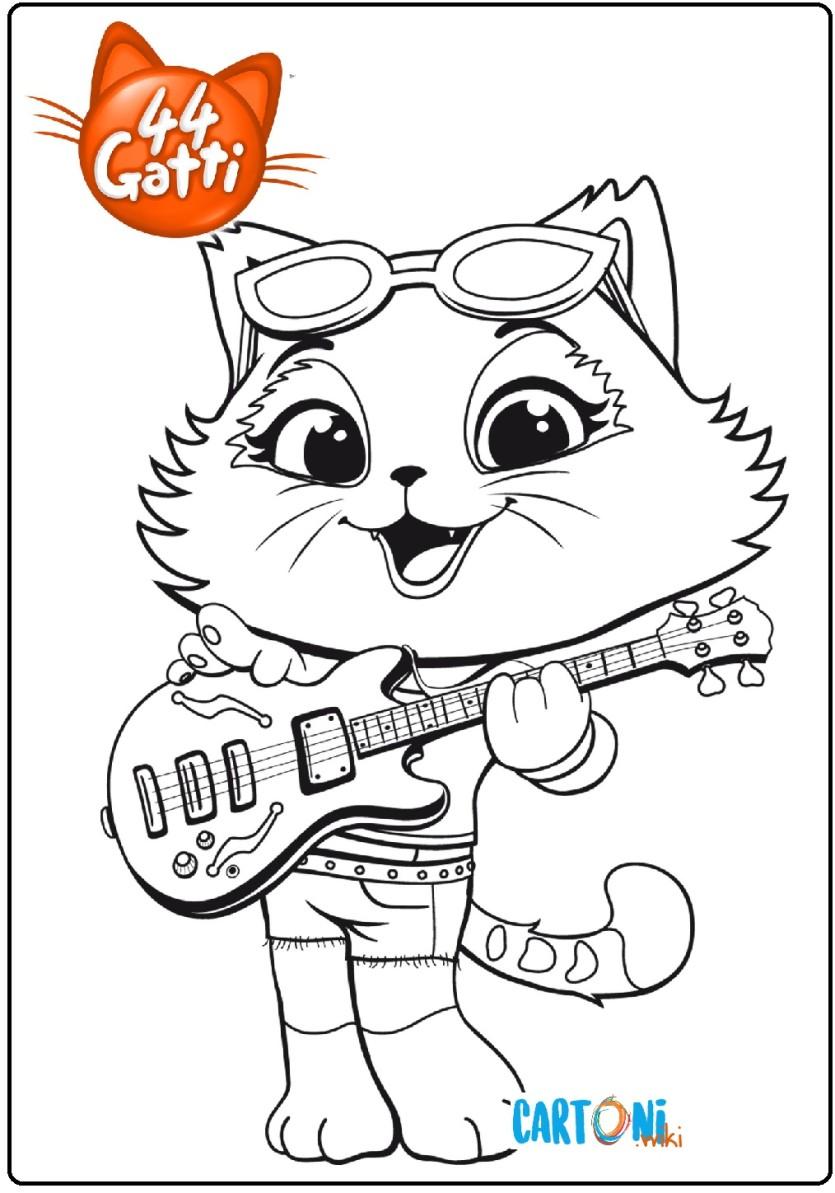 44 Gatti Disegno Milady Con La Chitarra Da Colorare Cartoni Animati
