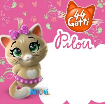 44 gatti Invito compleanno Pilou - Cartoni animati