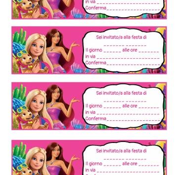 Inviti festa compleanno Barbie la magia del delfino - Cartoni animati