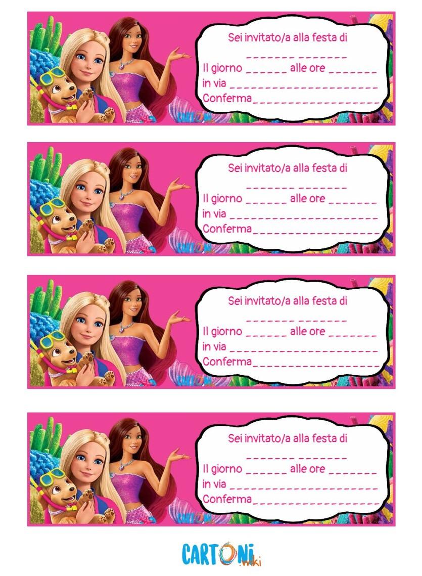 Inviti Festa Compleanno Barbie La Magia Del Delfino Cartoni Animati