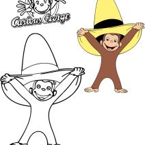 Colora George con il cappello giallo - Disegni da colorare
