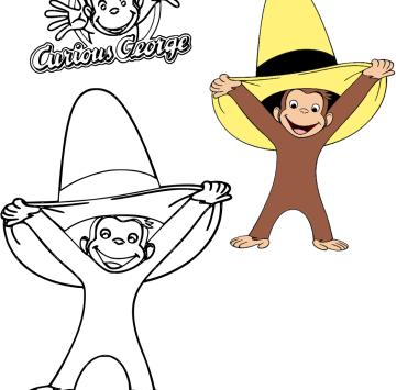 Colora George con il cappello giallo - Cartoni animati
