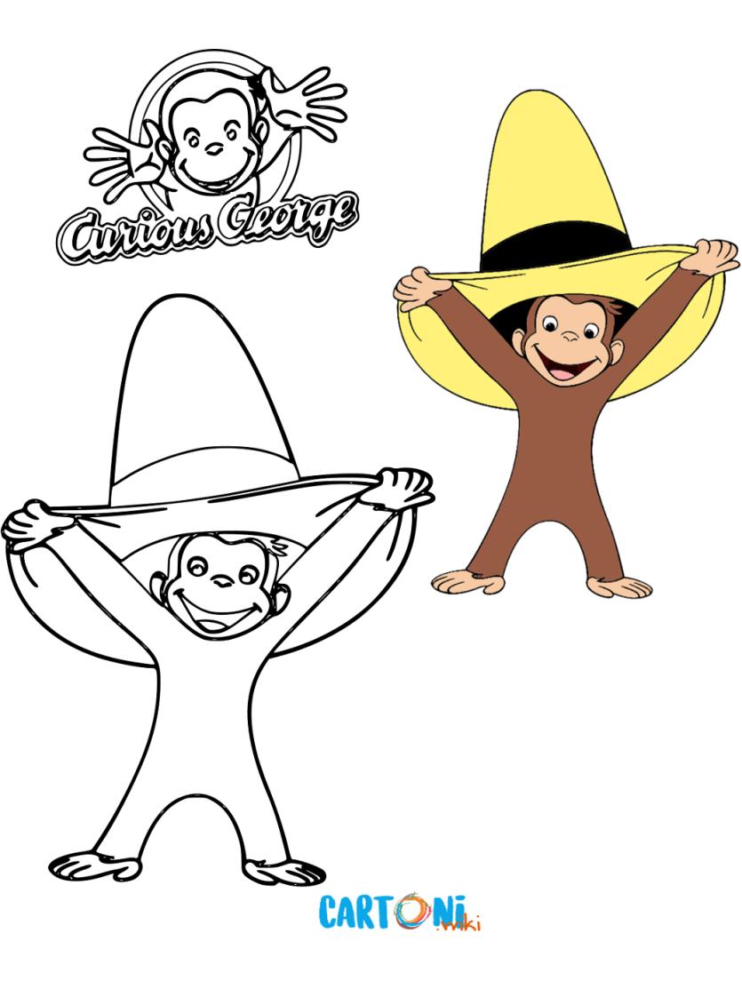 Colora George Con Il Cappello Giallo Cartoni Animati