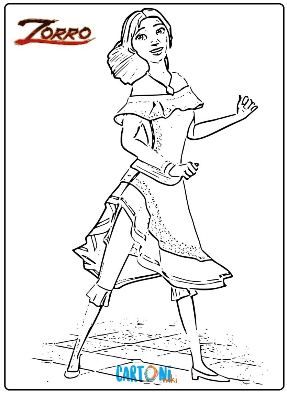 Colora Ines la sorella di Zorro - Cartoni animati