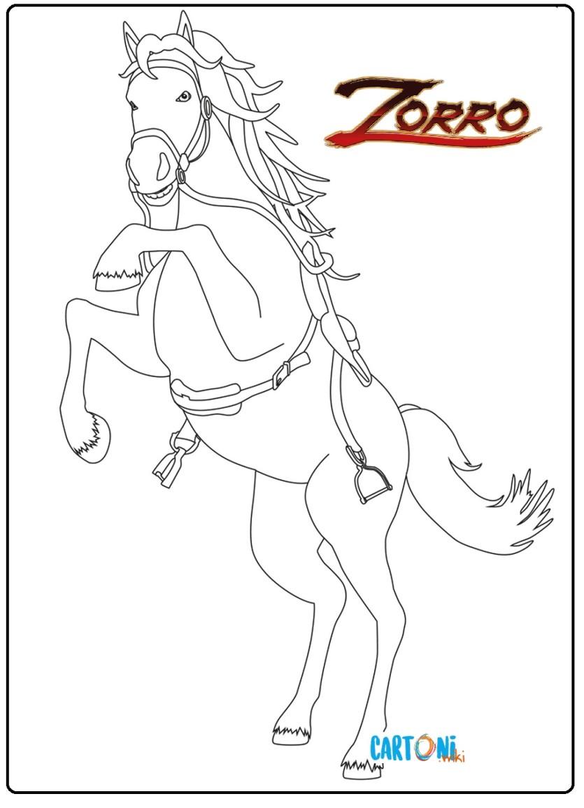 Colora Tornado il cavallo di Zorro - Cartoni animati