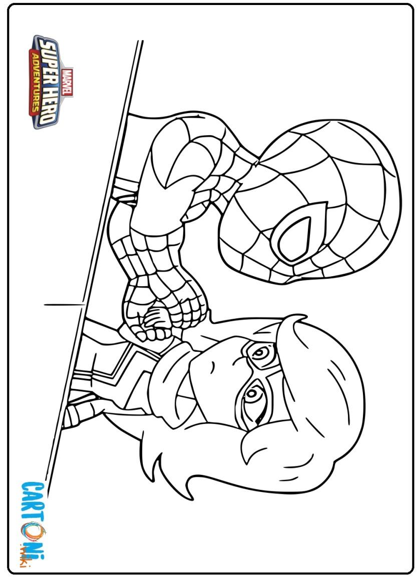 Disegno Spiderman E Miss Marvel Cartoni Animati