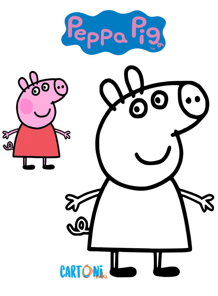 Peppa pig disegni da colorare cartoni animati for Maschere di peppa pig da colorare