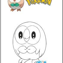 Pokemon disegno Rowlet da colorare - Disegni da colorare