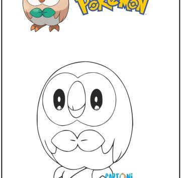 Pokemon disegno Rowlet da colorare - Cartoni animati