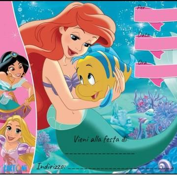 Ariel invito festa di compleanno - Cartoni animati