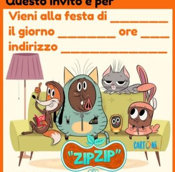 Zip Zip invito festa compleanno - Cartoni animati