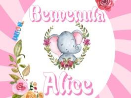Alice benvenuta - Biglietto auguri nascita