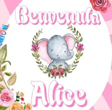 Alice benvenuta - Biglietto auguri nascita - Cartoni animati