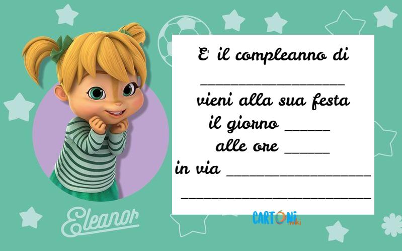 Invito compleanno Eleonor di Alvin and The Chipmunks - Cartoni animati