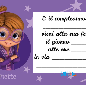 Invito compleanno Jeanette di Alvin and The Chipmunks - Cartoni animati