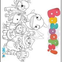 Disegni da colorare Bazoops con i personaggi - Disegni da colorare