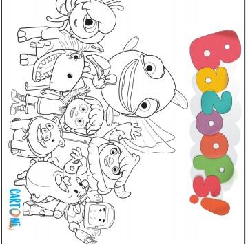 Disegni da colorare Bazoops con i personaggi - Cartoni animati