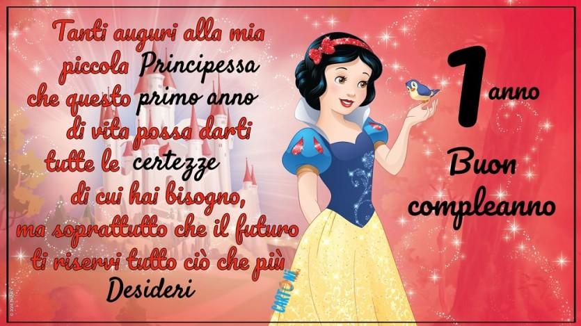 Biancaneve biglietto di auguri 1 anno - Cartoni animati
