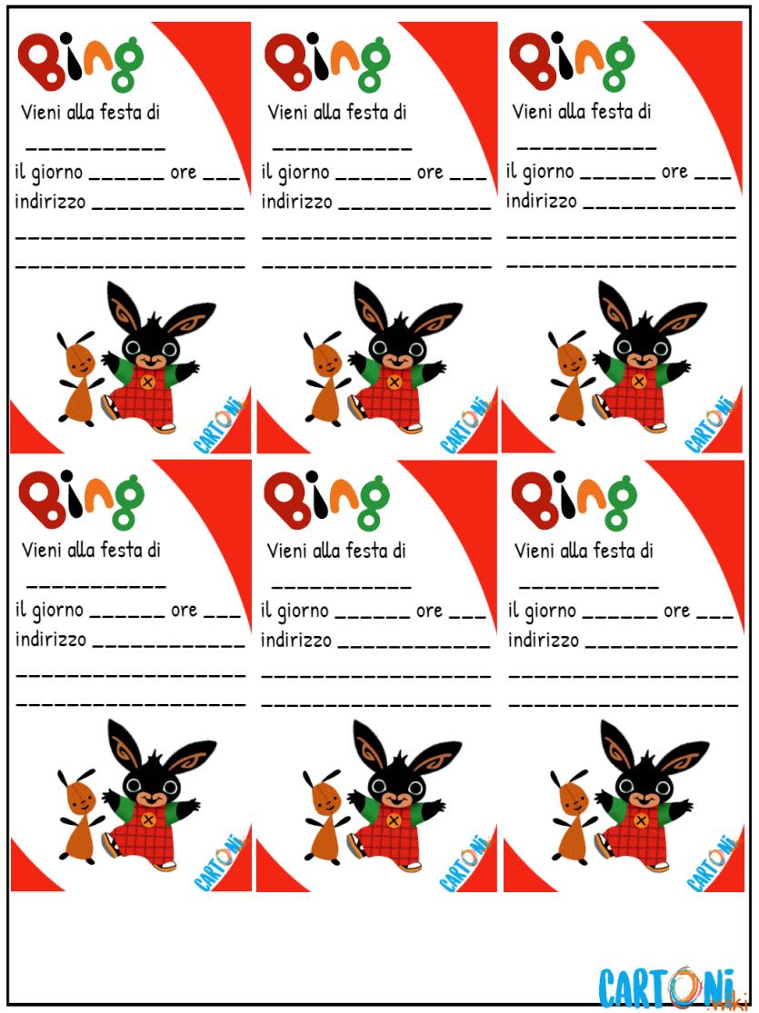 Bing inviti da stampare - Cartoni animati