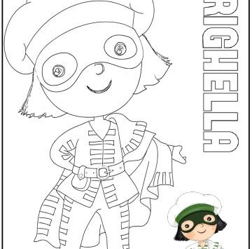 Maschere Brighella da colorare - Cartoni animati